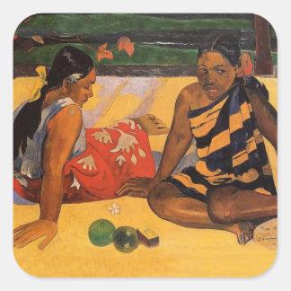 Gauguin French Polynesia Tahiti Women Square Stickers
