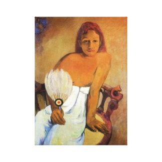 Gauguin Girl With A Fan Canvas Wrap