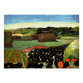 Gauguin - Haystacks in Brittany, Paul Gauguin art Poster