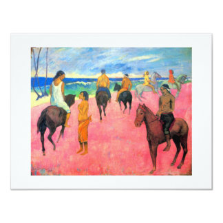 Gauguin horse art riders on pink beach in Tahiti Card