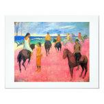 Gauguin horse art riders on pink beach in Tahiti 4.25x5.5 Paper Invitation Card