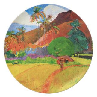 Gauguin Mountains in Tahiti Plate