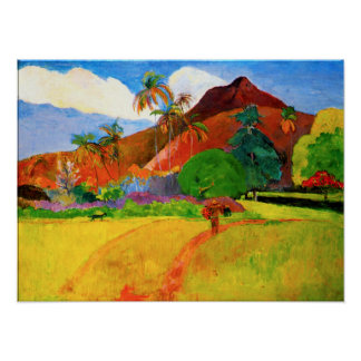 Gauguin Mountains in Tahiti Poster