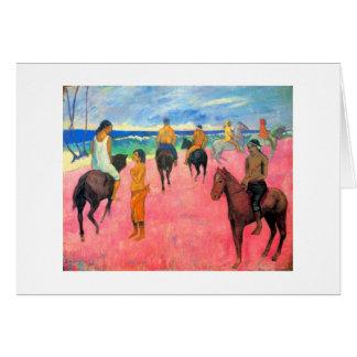 Gauguin riders on beach horsemen horses tahiti art greeting card
