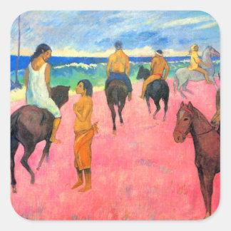 Gauguin riders on beach horsemen horses tahiti art square sticker
