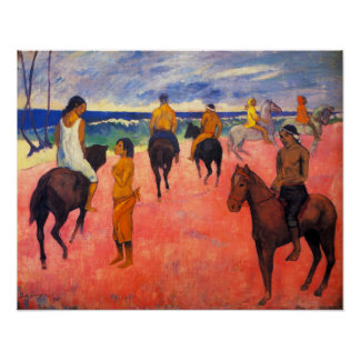 Gauguin Riders on the Beach Poster