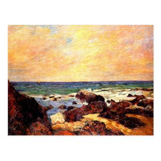 Gauguin - rocas y mar, 1886, pintando postales