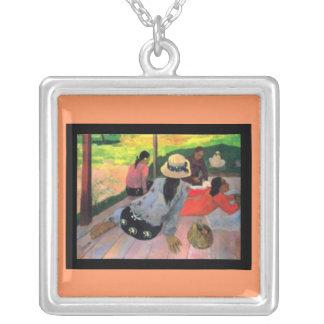 Gauguin-Siesta Collar-Clásica de Arte-Paul Colgante Cuadrado