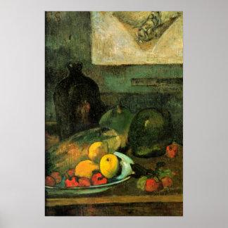 Gauguin - todavía vida delante de un Stich Póster