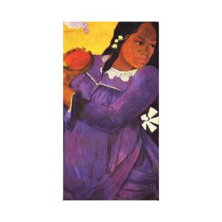 Gauguin Woman With A Mango Canvas Wrap