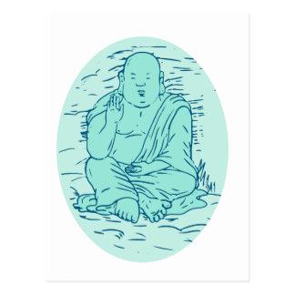 Gautama Buddha Lotus Pose Drawing Postcard