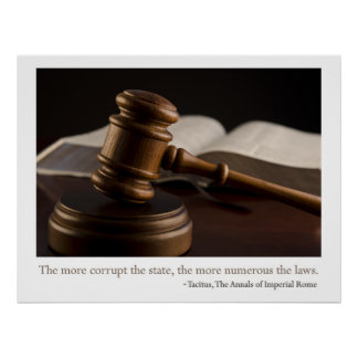 Gavel and corruption poster