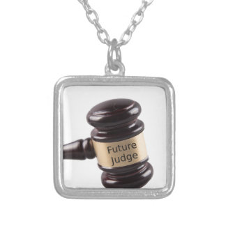 Gavel Design For Aspiring Judges And Lawyers Silver Plated Necklace