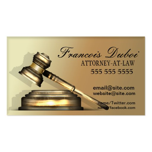 Gavel lawyer attorney law firm business card zazzle for Law business cards