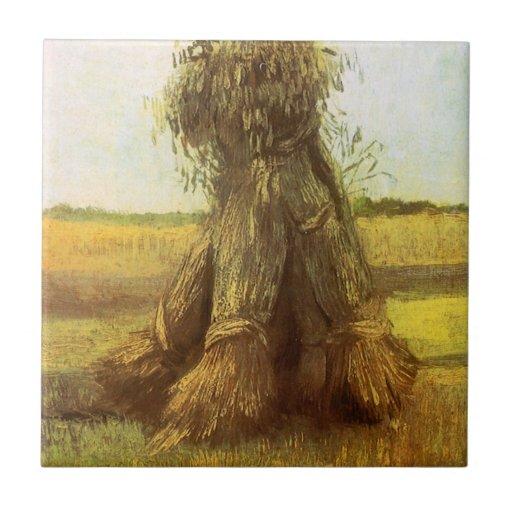 Gavillas de trigo de Vincent van Gogh Azulejo Cuadrado Pequeño