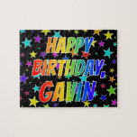 "[ Thumbnail: ""Gavin"" First Name, Fun ""Happy Birthday"" Jigsaw Puzzle ]"