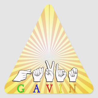GAVIN NAME SIGN FINGERSPELLED ASL TRIANGLE STICKER