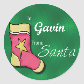 Gavin Personalized Christmas Label53 Classic Round Sticker