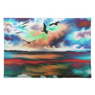 gaviota abstracta de la puesta del sol de la playa manteles individuales