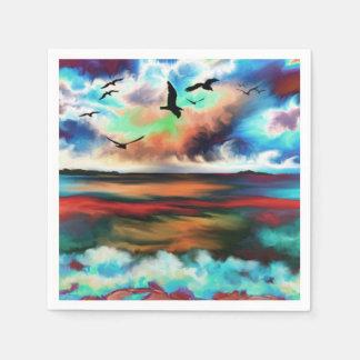 gaviota abstracta de la puesta del sol de la playa servilleta de papel