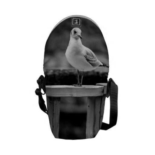 Gaviota blanco y negro bolsa de mensajería