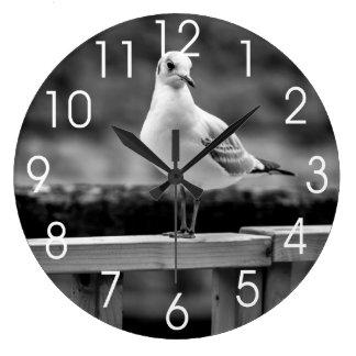 Gaviota blanco y negro reloj redondo grande
