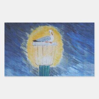 Gaviota de Gulliver en el Lamppost Pegatina Rectangular