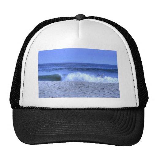 Gaviota de HDR que desnata olas oceánicas Gorras De Camionero