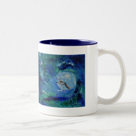 Gaviota de moda de la pintura de la bella arte del taza de café de dos colores