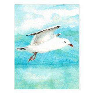Gaviota del azul de pavo real de la acuarela en el tarjeta postal