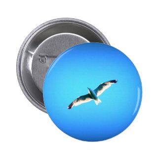 gaviota en el botón azul pin redondo de 2 pulgadas
