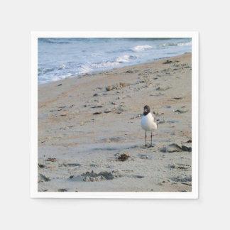 Gaviota en fondo del océano de la playa servilletas de papel