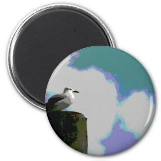 Gaviota en la fotografía posterized viruta del mue imán redondo 5 cm