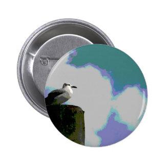 Gaviota en la fotografía posterized viruta del mue pin redondo 5 cm