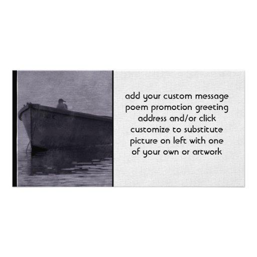 Gaviota en la niebla tarjetas fotográficas personalizadas
