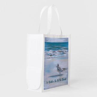 Gaviota en la orilla bolsa reutilizable