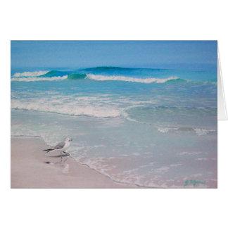 Gaviota en la playa - esconda dentro tarjeta de felicitación
