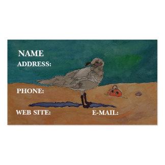 """""""Gaviota en la playa,"""" - tarjeta de visita"""