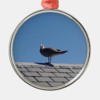 Gaviota en un tejado de pizarra adorno redondo plateado