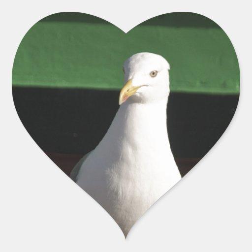 Gaviota Pegatina En Forma De Corazón