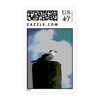 Gaviota que se sienta en una fotografía posterized sello