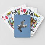 Gaviota que vuela fotografía divertida al revés de cartas de juego