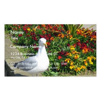 Gaviota y flores en Whitby Tarjetas De Visita