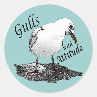 Gaviotas con el pegatina de la actitud