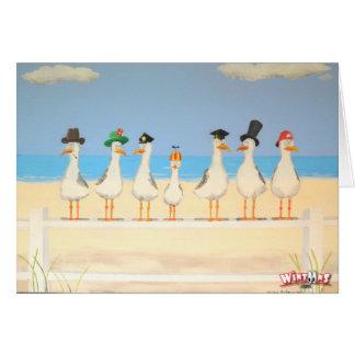 Gaviotas con los gorras tarjeta de felicitación