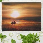 Gaviotas de la puesta del sol - pájaros del amor e toalla de mano