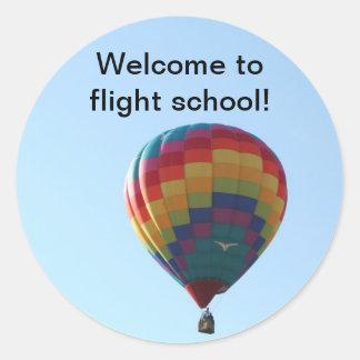 Gaviotas del globo del vuelo etiqueta redonda