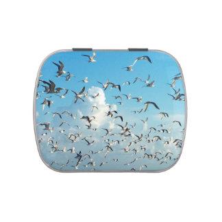 gaviotas en cielo sobre pájaros de la entrada jarrones de dulces