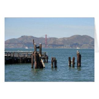 Gaviotas en el embarcadero de San Francisco Bay Tarjeta Pequeña