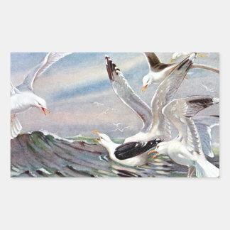Gaviotas en el océano rectangular pegatina